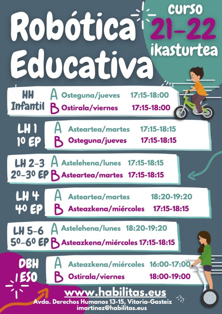 Robótica Educativa Habilitas 21-22 horarios